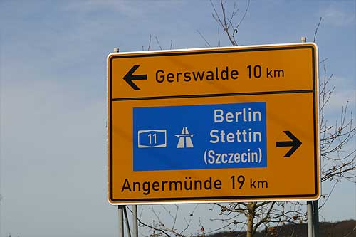 A typical Brandenburg road sign
