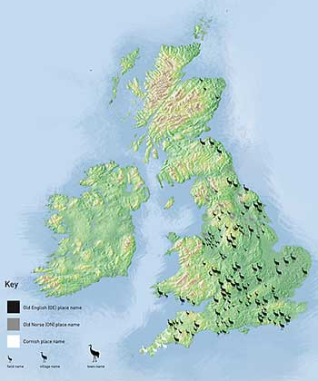 Placenames in the UK related to cranes. Credit: WWT